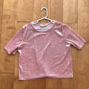 H&M cute pink crushed velvet shirt